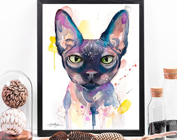 Sphynx cat watercolor framed canvas by Slaveika Aladjova, Limited edition, art, animal watercolor, animal illustration, extra large print