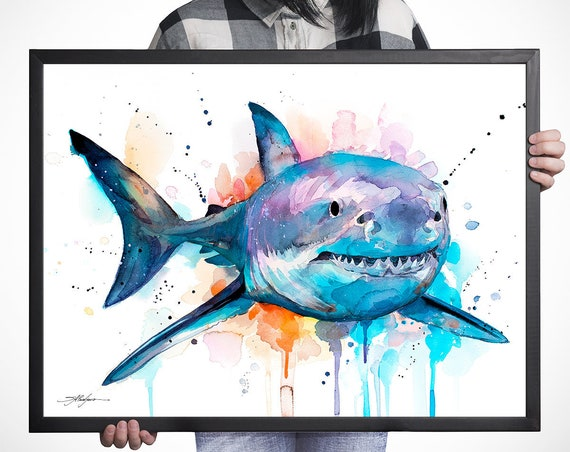 Great white shark watercolor framed canvas by Slaveika Aladjova, Limited edition, art, animal watercolor, animal illustration,