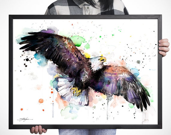 Bald Eagle watercolor framed canvas by Slaveika Aladjova, Limited edition, Bald Eagle art, animal watercolor, animal illustration,bird art