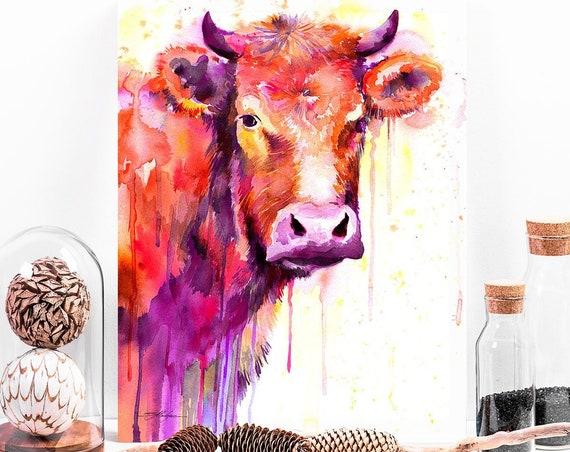 Red Cow watercolor  painting print by Slaveika Aladjova, art, animal, illustration, home decor, Nursery, gift, Wildlife, wall art, farm