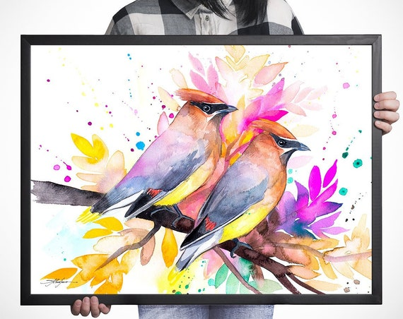 Cedar Waxwings watercolor framed canvas by Slaveika Aladjova, Limited edition, art, animal watercolor, animal illustration, art