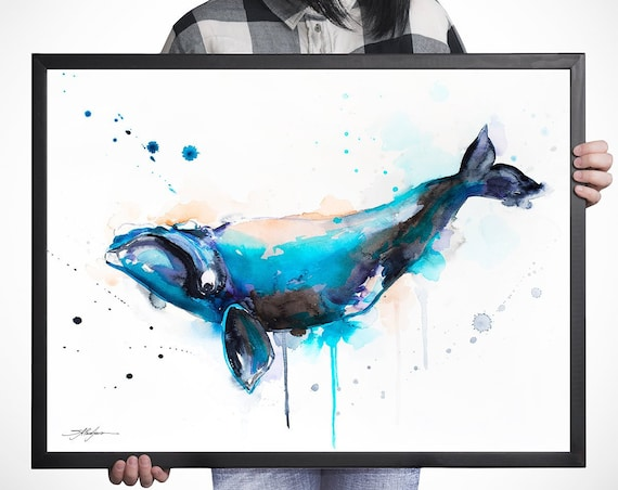 Right whale watercolor framed canvas by Slaveika Aladjova, Limited edition, animal watercolor, animal illustration, extra large print