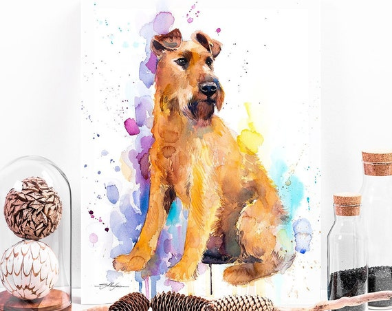 Irish Terrier watercolor painting print by Slaveika Aladjova, animal, illustration, home decor, Nursery, Contemporary, dog art, wall art