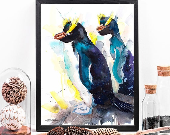 Erect-Crested Penguins watercolor framed canvas by Slaveika Aladjova, Limited edition, animal, animal illustration, bird art, Large Canvas