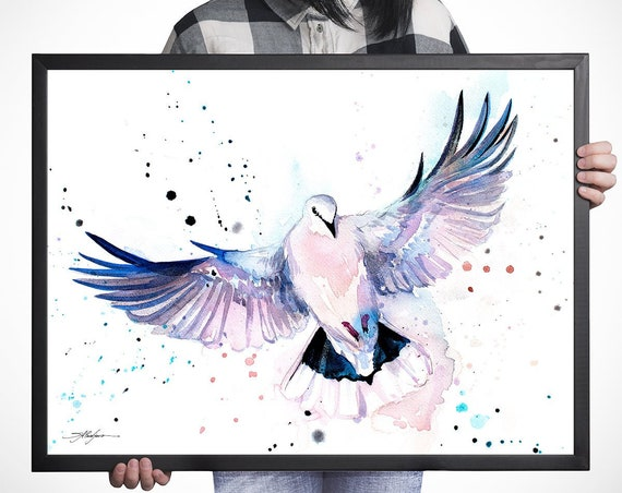 Dove watercolor framed canvas by Slaveika Aladjova, Limited edition, art, animal watercolor, animal illustration, bird art