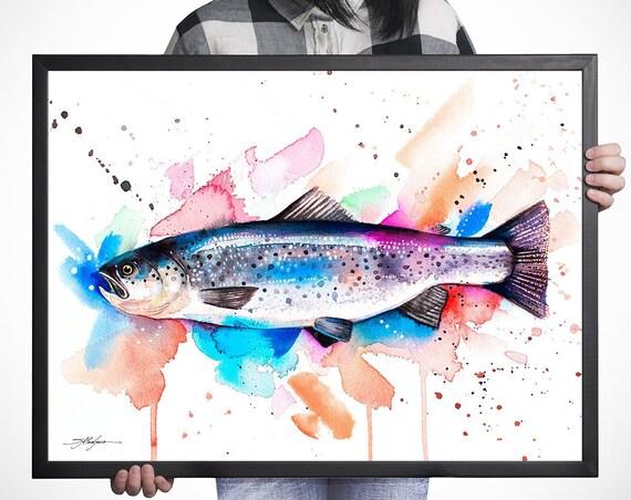 Atlantic salmon watercolor framed canvas by Slaveika Aladjova, Limited edition, art, animal watercolor, animal illustration,