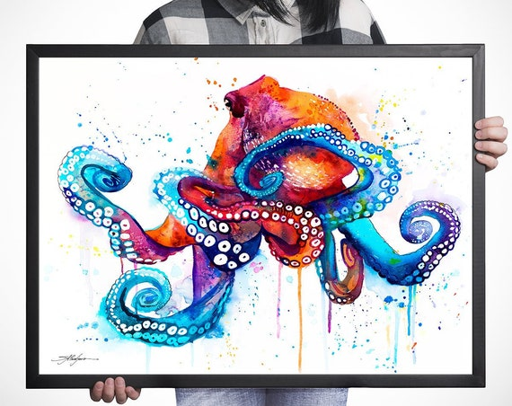 Octopus watercolor framed canvas by Slaveika Aladjova, Limited edition, animal watercolor, animal illustration, extra large print