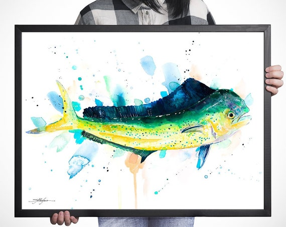 Mahi Mahi, Dolphin fish, Dorado watercolor framed canvas by Slaveika Aladjova, Limited edition,animal watercolor, illustration, large canvas