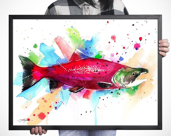 Sockeye salmon watercolor framed canvas by Slaveika Aladjova, Limited edition, extra large art, animal watercolor, animal illustration,