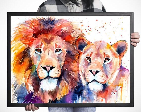Lion Lioness Love watercolor framed canvas by Slaveika Aladjova, Limited edition, art, animal watercolor, animal illustration,bird art