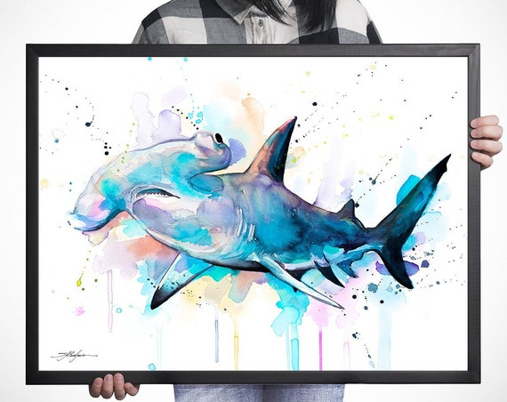 Hammerhead shark watercolor framed canvas by Slaveika Aladjova, Limited edition, art, animal watercolor, animal illustration,