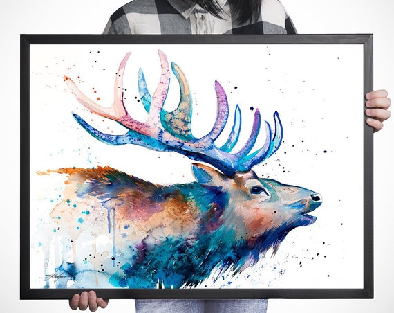 Red deer watercolor framed canvas by Slaveika Aladjova, extra large canvas, Limited edition, art, animal watercolor, animal illustration,art
