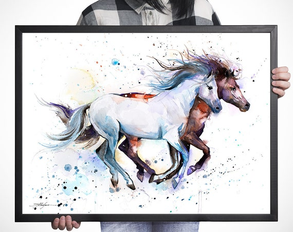 Horses watercolor framed canvas by Slaveika Aladjova, Limited edition, art, animal watercolor, animal illustration, large canvas