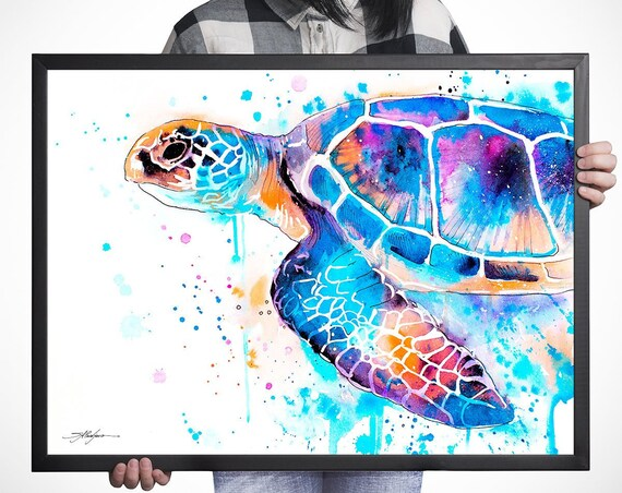 Blue Sea turtle watercolor framed canvas by Slaveika Aladjova, Limited edition, art, animal watercolor, animal illustration,bird art