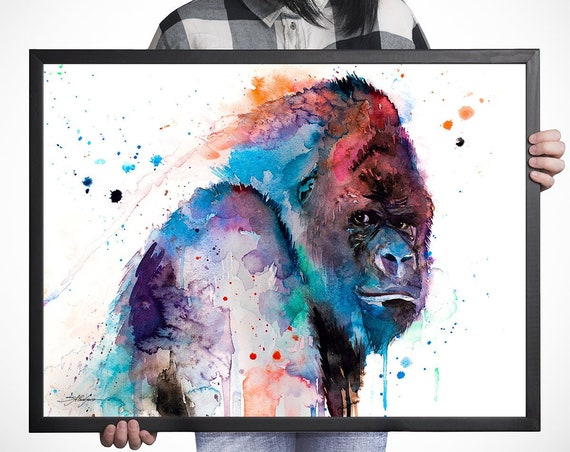 Western gorilla watercolor framed canvas by Slaveika Aladjova, Limited edition, large canvas, art, animal watercolor, animal illustration,