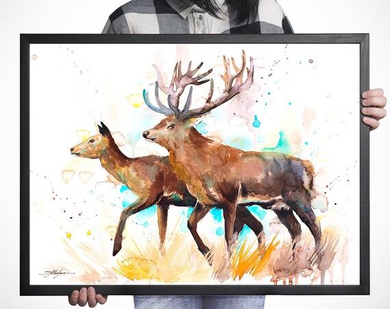 Deer love watercolor framed canvas by Slaveika Aladjova, Limited edition, art, animal watercolor, animal illustration,
