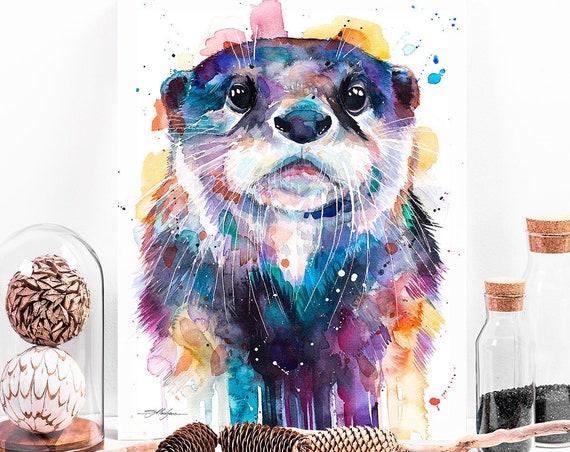 Otter watercolor painting print by Slaveika Aladjova, art, animal, illustration, home decor, Nursery, gift, Wildlife, wall art