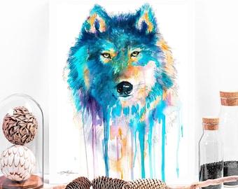fee7af8cd2e3 Blue Wolf watercolor painting print by Slaveika Aladjova