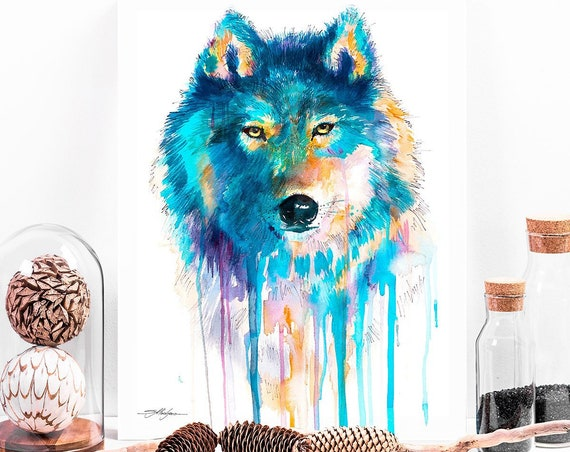 Blue Wolf watercolor painting print by Slaveika Aladjova, art, animal, illustration, home decor, Nursery, gift, Wildlife, wall art
