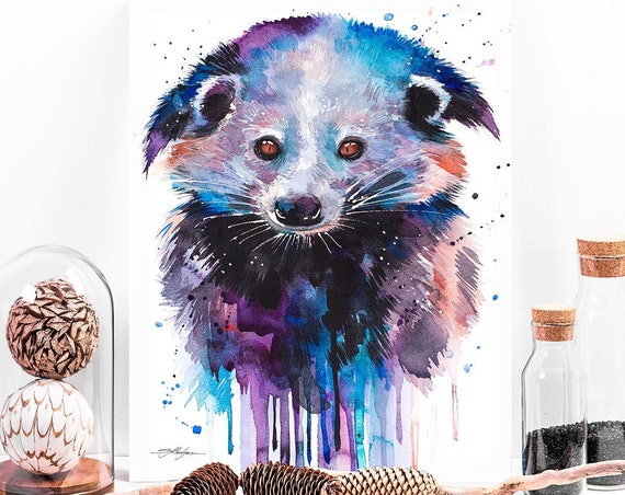 Binturong watercolor painting print by Slaveika Aladjova, art, animal, illustration, home decor, Nursery, gift, Wildlife, wall art