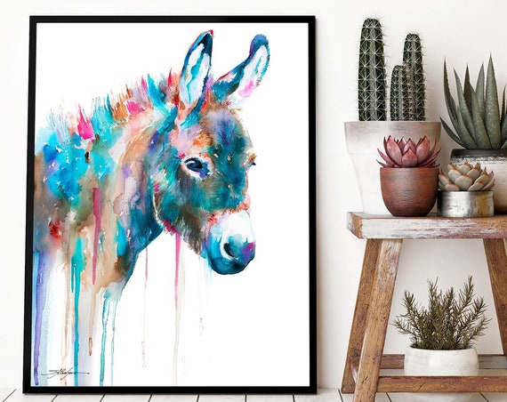 Donkey watercolor framed canvas by Slaveika Aladjova, Limited edition, art, animal watercolor, animal illustration,bird art