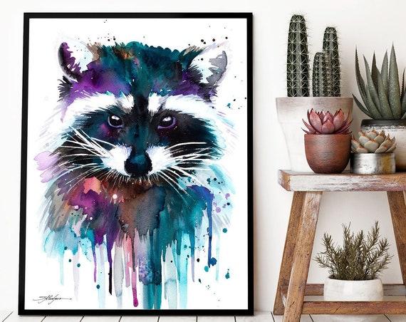 Raccoon watercolor framed canvas by Slaveika Aladjova, Limited edition, art, animal watercolor, animal illustration,bird art