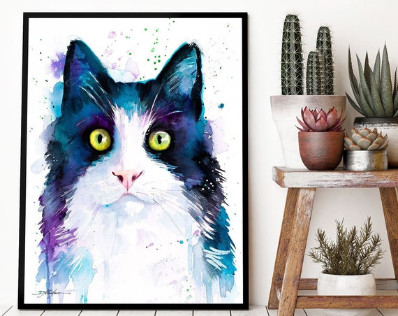 Black and white cat watercolor framed canvas by Slaveika Aladjova, Limited edition, art, animal watercolor, animal illustration,