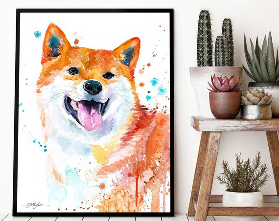 Red Shiba Inu watercolor framed canvas by Slaveika Aladjova, Limited edition, art, animal watercolor, animal illustration, extra large print
