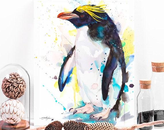 Macaroni penguin watercolor painting print by Slaveika Aladjova, animal, illustration, Sea art, sea life art, nautical, ocean art, bird