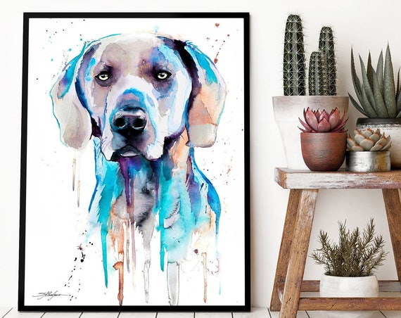 Blue Weimaraner watercolor framed canvas by Slaveika Aladjova, Limited edition, art, animal watercolor, animal illustration,