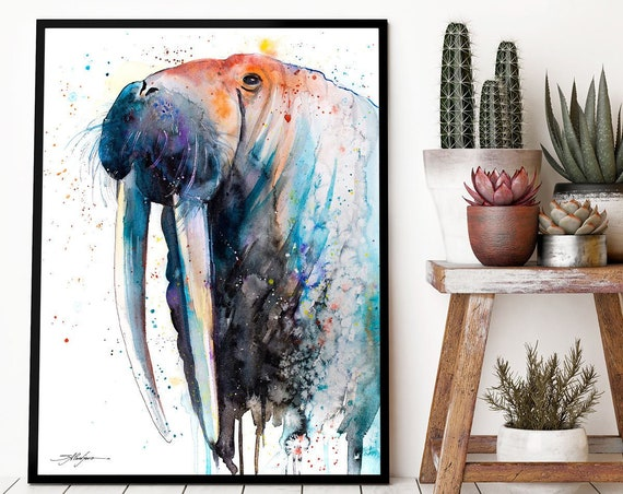 Walrus watercolor framed canvas by Slaveika Aladjova, Limited edition, art, animal watercolor, illustration, extra large canvas