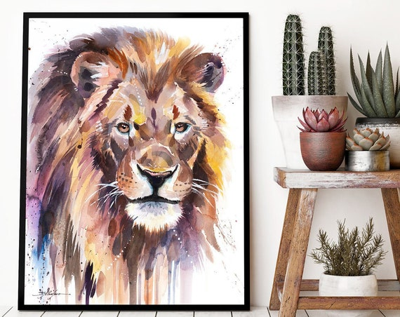 African Lion watercolor framed canvas by Slaveika Aladjova, Limited edition, animal watercolor, animal illustration, extra large print