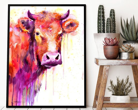 Red Cow watercolor framed canvas by Slaveika Aladjova, Limited edition, art, animal watercolor, animal illustration, art, farm,