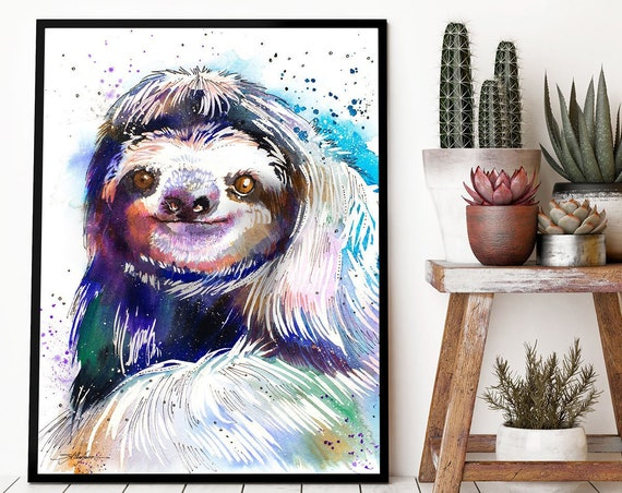 Three-toed sloth watercolor framed canvas by Slaveika Aladjova, Limited edition, art, animal watercolor, animal illustration, large print