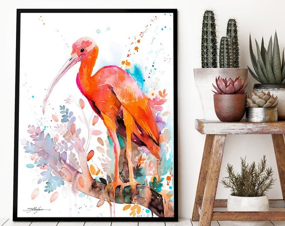 Scarlet Ibis watercolor framed canvas by Slaveika Aladjova, extra large canvas, Limited edition, animal watercolor, illustration, bird art