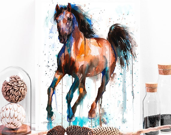 Brown and Black Horse watercolor painting print by Slaveika Aladjova, art, animal, illustration, home decor, wall art, gift, Contemporary