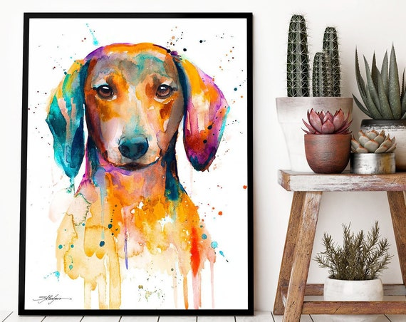 Red Dachshund watercolor framed canvas by Slaveika Aladjova, Limited edition, art, animal watercolor, animal illustration,