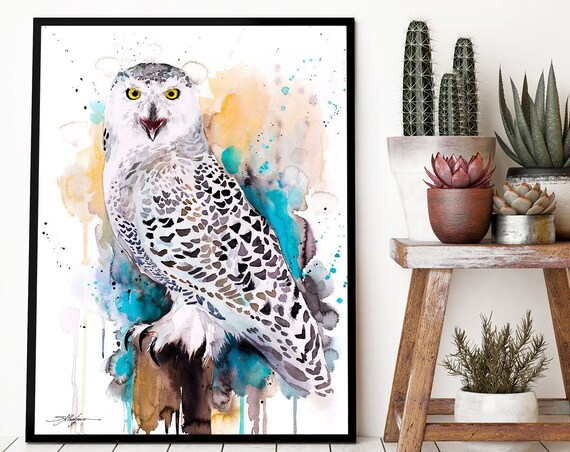 Snowy Owl  watercolor framed canvas by Slaveika Aladjova, Limited edition, art, animal, animal illustration,bird art