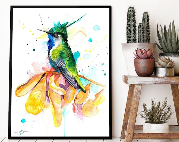 Green-crowned plovercrest hummingbird  watercolor framed canvas by Slaveika Aladjova, Limited edition, art, animal watercolor, bird art