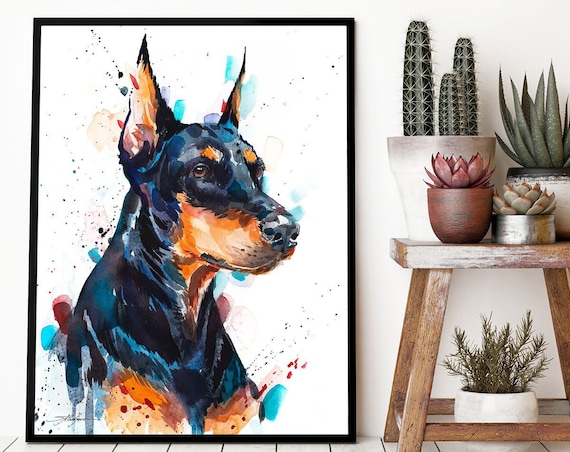 Doberman watercolor framed canvas by Slaveika Aladjova, Limited edition, animal watercolor, art illustration, large print, XL, Contemporary