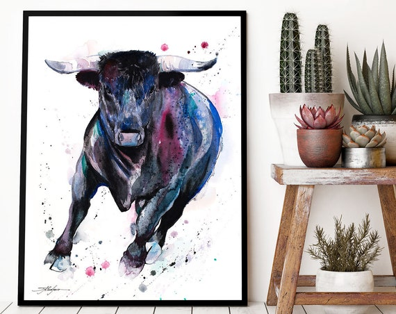 Black Bull watercolor framed canvas by Slaveika Aladjova, Limited edition, art, animal watercolor, animal illustration,bird art