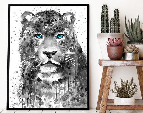 Black and white Panther Leopard Jaguarwatercolor framed canvas by Slaveika Aladjova, Limited edition, animal watercolor, animal illustration