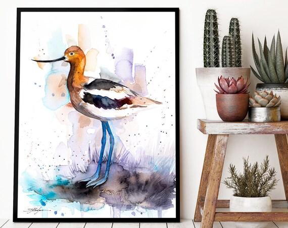 American Avocet watercolor framed canvas by Slaveika Aladjova, Limited edition, art, animal watercolor, animal illustration, bird