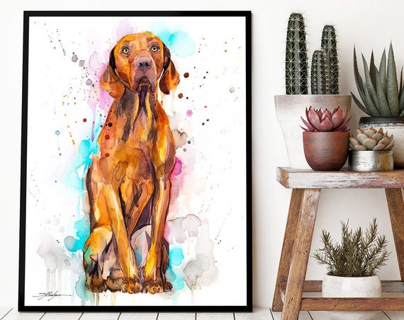Vizsla Dog watercolor framed canvas by Slaveika Aladjova, Limited edition, art, animal watercolor, animal illustration, extra large print