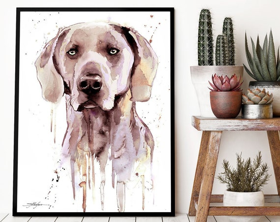 Weimaraner watercolor framed canvas by Slaveika Aladjova, Limited edition, art, animal watercolor, animal illustration, extra large print