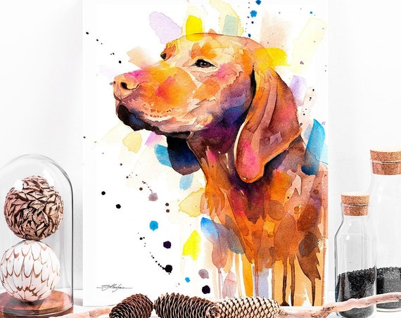 Vizsla watercolor painting print by Slaveika Aladjova, art, animal, illustration, home decor, Nursery, gift, Contemporary, dog art