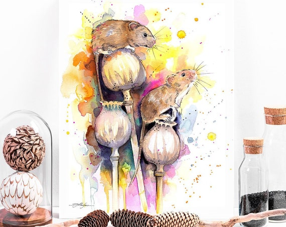 Harvest mouse watercolor painting print by Slaveika Aladjova, art, animal, illustration, home decor, Nursery, gift, Wildlife, wall art