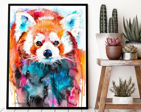 Red panda watercolor framed canvas by Slaveika Aladjova, Limited edition, art, animal watercolor, animal illustration, large art print