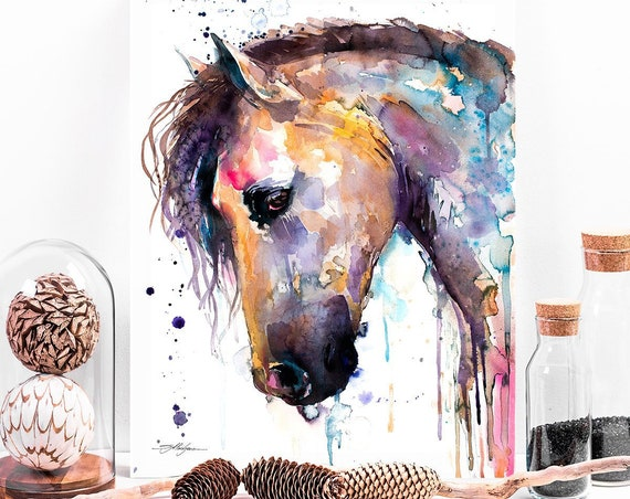 Beautiful Horse watercolor painting print by Slaveika Aladjova, animal art, illustration,wall art, home decor, wildlife, gift, Giclee Print