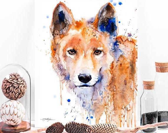 Dingo watercolor painting print by Slaveika Aladjova, art, animal, illustration, home decor, Nursery, gift, Wildlife, wall art